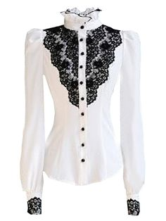 White With Black Lace Stand Collar Puff Sleeve Shirt | Choies