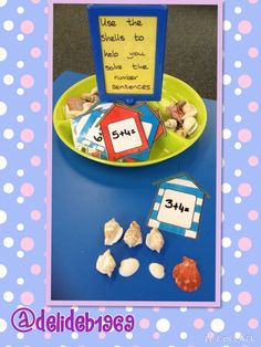 Seaside addition with shells. The huts were from a Twinkl worksheet which I enlarged and cut the huts out. Eyfs Curriculum, Maths Eyfs, Eyfs Activities, Numeracy, Seaside Theme, Sea Theme, Math Addition, Addition And Subtraction, Year 2 Classroom