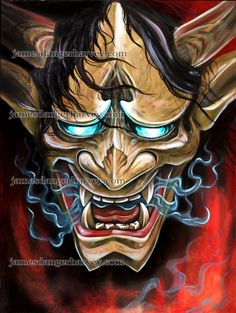 oni hannya demon by jamesdangerharvey Japanese Hannya Mask, Japanese Demon Tattoo, Japanese Mask, Japanese Sleeve Tattoos, Hannya Samurai, Samurai Tattoo, Samurai Art, Japan Tattoo Design, Japanese Tattoo Designs