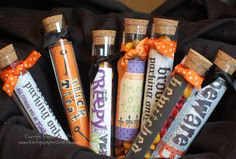 Martha Stewart crafty test tubes filled with candy & halloween scrapbooking paper liner