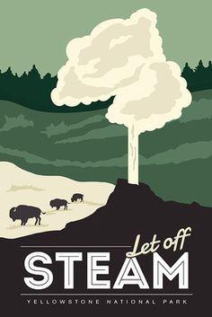 Yellowstone National Park - Let Off Steam - Lantern Press Artwork