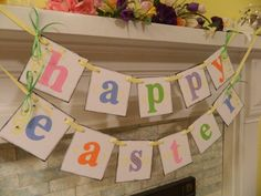 Happy EASTER Mantle or Wall Banner by anyoccasionbanners on Etsy, $24.00