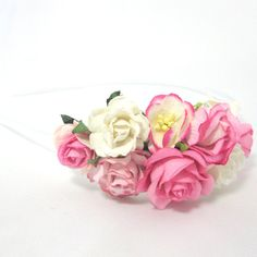 White and pink roses Floral Headband Flower Fascinator Vintage Wedding Party Bridal Accessory Bridesmaid statement on Etsy, 141,80kr