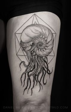 Rad Nautilus tattoo done by @DasLeitbild in Los Angeles, California. : tattoos