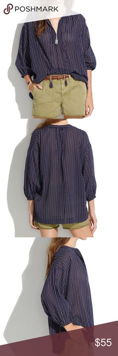"Madewell Openview Tunic In Dotted Line A flowy an effortness shape. A cool subtly graphic print. Toss it on, wear it everywhere. Oversized fit, length: 28"". NWOT Madewell Tops Blouses"