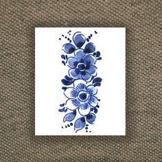 delfts blauw tattoo | Floral vintage Dutch 'Delfts Blauw' temporary tattoo door Tattoorary