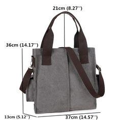 Women Men Side Pocket Canvas Handbags Casual Shoulder Bags Capacity Crossbody Ba - US$37.99