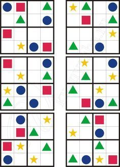 Sudoku for kids with geometric shapes Cooperative Learning, Learning Games, Math Games, Toddler Activities, Kids Learning, Activities For Kids, Kindergarten Math, Preschool, Graph Paper Art