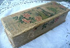 Antique candy box roses lithos Blue Banner by LittleBeachDesigns, $59.00
