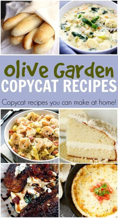 I love the food at Olive Garden, but it's pretty far away and a little pricey. Fortunately you can make similar recipes to what they serve in the restaurant at home. Here are 12 Olive Garden copycat recipes (and more roundups of copycat recipes! Receitas Do Olive Garden, Olive Garden Recipes, Olive Recipes, Olive Garden Food, Olive Garden Salad, Copycat Olive Garden Soup, Olive Garden Soups, Copykat Recipes, Famous Recipe