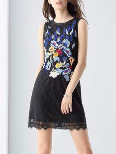 #AdoreWe #StyleWe Designer Mini Dresses - Designer INSLIFE Black Floral Guipure Lace Sleeveless Embroidered Mini Dress - AdoreWe.com