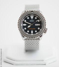 New Seiko SKX009 Silver Shark Mesh Homage Mod Automatic Dive Watch 722630852711 | eBay
