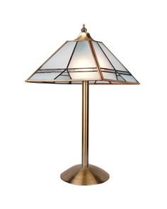 Traditional Glass Stereo Trapezoid Shade Table Lamp