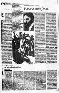 """""""Palabras como flechas"""" Escrito por Juan Carlos Mondragón. Publicado el 22 de Marzo de 1987.  En honor a los 50 años de la muerte de Horacio Quiroga"""