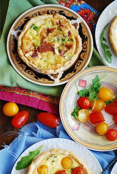 Bacon and Egg Tartlets with green onions and Gouda, flaky tart crust, breakfast that will keep you full !