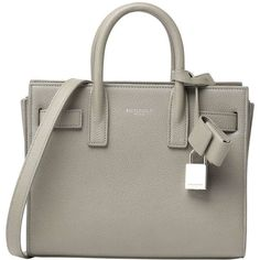 Saint Laurent Sac de Jour Small Grain Leather Tote Bag (3,775 CAD) ❤ liked on Polyvore featuring bags, handbags, tote bags, light grey, zippered tote bag, zip tote, accessories handbags, tote and full grain leather tote