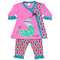 Sozo Girls 2 Piece Pink/Blue Peacock Dress Set with Wrap Dress and Printed Leggings