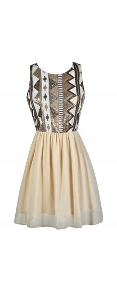 Prism Break Mocha and Cream Sequin and Chiffon Dress  www.lilyboutique.com