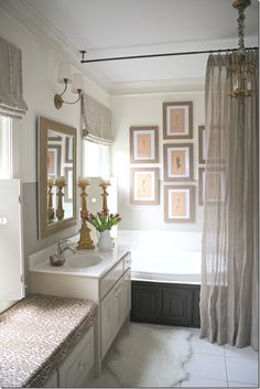 Via Cote de Texas.....love this bathroom, curtain hanging from ceiling