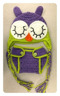 Crocheted Baby Girl Sleeping Owl Hat & Diaper Cover Photo Prop Set - Newborn: