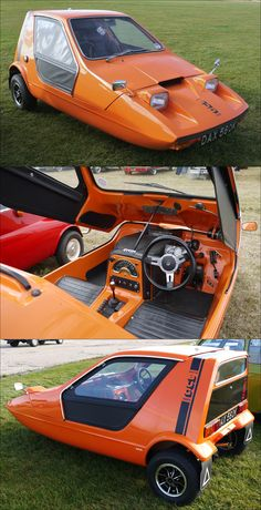 The Bond Bug was a small British two seat, three wheeled sports car of the 1970s. Following the purchase of the Bond Motor Company, Reliant commissioned Ogle Design to design a fun car. It was a wedge-shaped microcar, with a lift-up canopy and side screens instead of conventional doors.