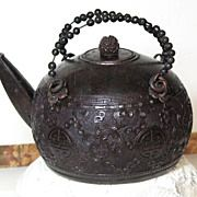 Chinese carved cinnabar lacquer tea pot bronze hardware pewter liner