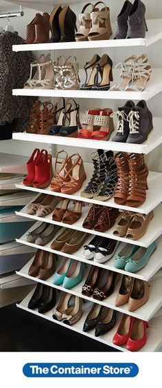 Our Solid Angled Metal Shelves are ideal for displaying all your favorite & Our Clear Storage Boxes Cases | The Container Store | Wishlist ...