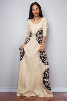 Boho dress, Tie Dye Dress, Long Sleeved Maxi Dress, Festival dress : Funky Bleach Collection BLLS004