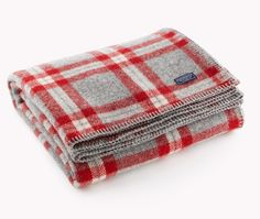 Soho Plaid Wool Throw, Red/Gray Plaid - traditional - Throws - Faribault Woolen Mill Co. Tartan, Red Plaid, Cozy Blankets, Cotton Blankets, Red Throw, Woolen Mills, Textiles, Red And Grey, Interior Design
