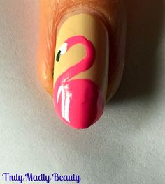 Truly Madly Beauty: NOTD - Flamingo Nail Art Tutorial!