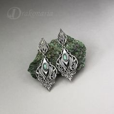 Elven earrings, Sindarin - Narn, silver with labradorite, limited collection by drakonaria on Etsy https://www.etsy.com/listing/200429710/elven-earrings-sindarin-narn-silver-with