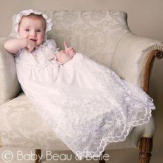 """Baby Beau & Belle """"Joli White"""" Christening Gown $77.00"""