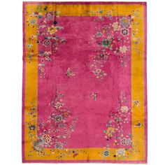 Pink Chinese Deco Rug | From a unique collection of antique and modern chinese and east asian rugs at https://www.1stdibs.com/furniture/rugs-carpets/chinese-rugs/