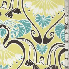 Yellow/Brown Floral Crepe de Chine - Fabric By The Yard