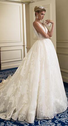 "Alessandra Rinaudo 2017 ""Bridget"" sleeveless ball gown wedding dress with deep V-neckline, the perfect mix of classic romance with modern details. #AR_2017Collection #AlessandraRinaudo #bridal #wedding #ad #weddingdress #ballgown #romantic"