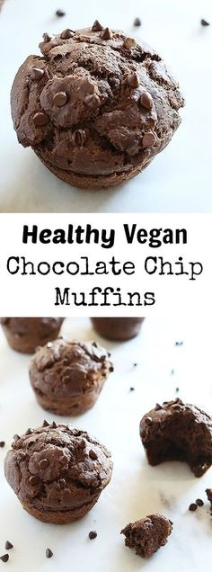 These Healthy Vegan Chocolate Chip Muffins are sweetened with maple syrup and chocolate chips, super easy to make and great for breakfast, dessert or just snacking! Vegan. / http://TwoRaspberries.com