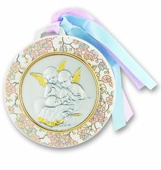 Sterling Silver Baby Crib Medal, 3 1/2, Angels watching over Baby, Keepsake for Baby, Perfect for Hanging on the Crib, Baby's Frist Christmas Ornament, Baby Shower Gift, Christening or Baptism. Crib Medal. May also be used as a Christmas Oranments. Made in Italy.  #Hail_Mary_Gifts #Single_Detail_Page_Misc