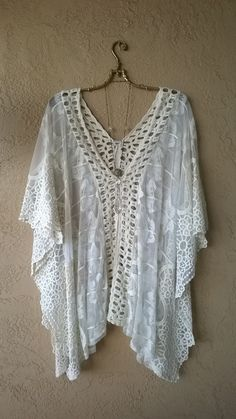 Image of Free People sheer Ivory romantic lace embroidery festival tunic
