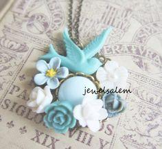 Turquoise Wedding Woodland Flower Bird Bridal by Jewelsalem
