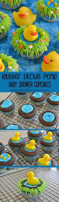 Rubber Duckie Pond Baby Shower Cupcakes--these would also be great for Easter or spring.