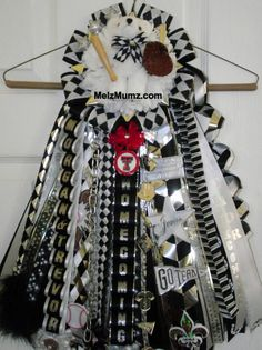 Melz Mumz MEGA Single Homecoming Garter Martin High School Junior Black and White. Custom homecoming garters by melzmumz.com