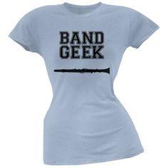Band Geek Clarinet Light Blue Soft Juniors T-Shirt - X-Large, Women's