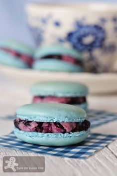 Bake for Happy Kids: Blueberry French Macarons with Italian Meringue Bu...