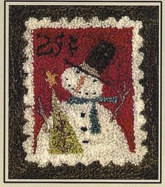 Primitive Folk Art Punchneedle Pattern:  CHRISTMAS STAMP -- Weavers Cloth with printed design included. $11.00, via Etsy.