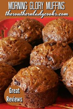 These Morning Glory Muffins in the morning with coffee will make for a glorious treat to start the day. Healthy Breakfast Muffins, Healthy Muffin Recipes, Breakfast Dishes, Breakfast Recipes, Morning Glory Muffins, Simple Muffin Recipe, Gourmet Recipes, Delicious Recipes, Bread Recipes