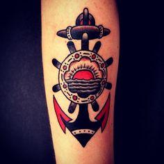 Cool Old School Anchor Tattoo Design   Cool Tattoo Designs