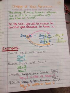 Change of Base Formula Notes