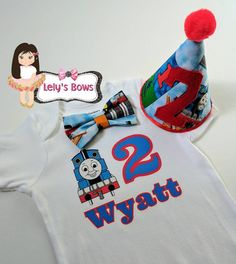 Thomas the train first birthday outfit first birthday boy First Birthday Outfits, Boy First Birthday, Thomas Birthday Cakes, Thomas The Train, First Birthdays, Bows, Trending Outfits, Handmade Gifts, Vintage