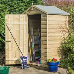 Here we have the 4 x 3 pressure treated shed that is ideal for small gardens or small storage needs. Visit Shedstore for our fantastic range of wooden sheds. Wooden Storage Sheds, Garden Storage Shed, Wooden Sheds, Small Shed Plans, Small Sheds, Shiplap Cladding, Apex Roof, Sheds For Sale