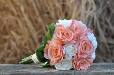 Wedding Flowers, Wedding Bouquet, Keepsake Bouquet, Bridal Bouquet Coral and ivory rose wedding bouquet made of silk roses.